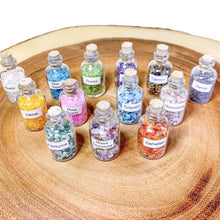 Load image into Gallery viewer, Gemstone Crystal Bottle - Stone Bottle Set - Gemstone Chips - Tarot Gemstone Bottle, Crystal Gemstone Bottle - gemstone crystal chips. The listing is for one Crystal Bottle. Crystals included Peridot, Blue Topaz, Carnelian, Turquoise, Moonstone, Rose Quartz, Tigers Eye, Quartz, Amethyst, Aventurine, Garnet, Citrine.