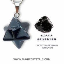 Load image into Gallery viewer, Shop for Black Obsidian Stone Star of David pendant. Estrella de David Merkaba. Obsidian Stone Star Of David Shape Healing necklace Online. Merkaba Star handcrafted made of Obsidian Stone. Buy online Healing Stones.Estrella colgante de piedra obsidiana negra con collar esterlina plata forjada a mano por Magic Crystals.