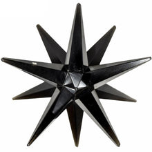 Load image into Gallery viewer, XL Black Tourmaline 12 Point Merkaba Star. Looking for black 12 point stars? Shop for our genuine gemstones. Black Tourmaline 12 gemstone point star. Assists you with PROTECTION,SHIELDING, and SECURITY. FREE SHIPPING available. Turmalina negra carved in star.