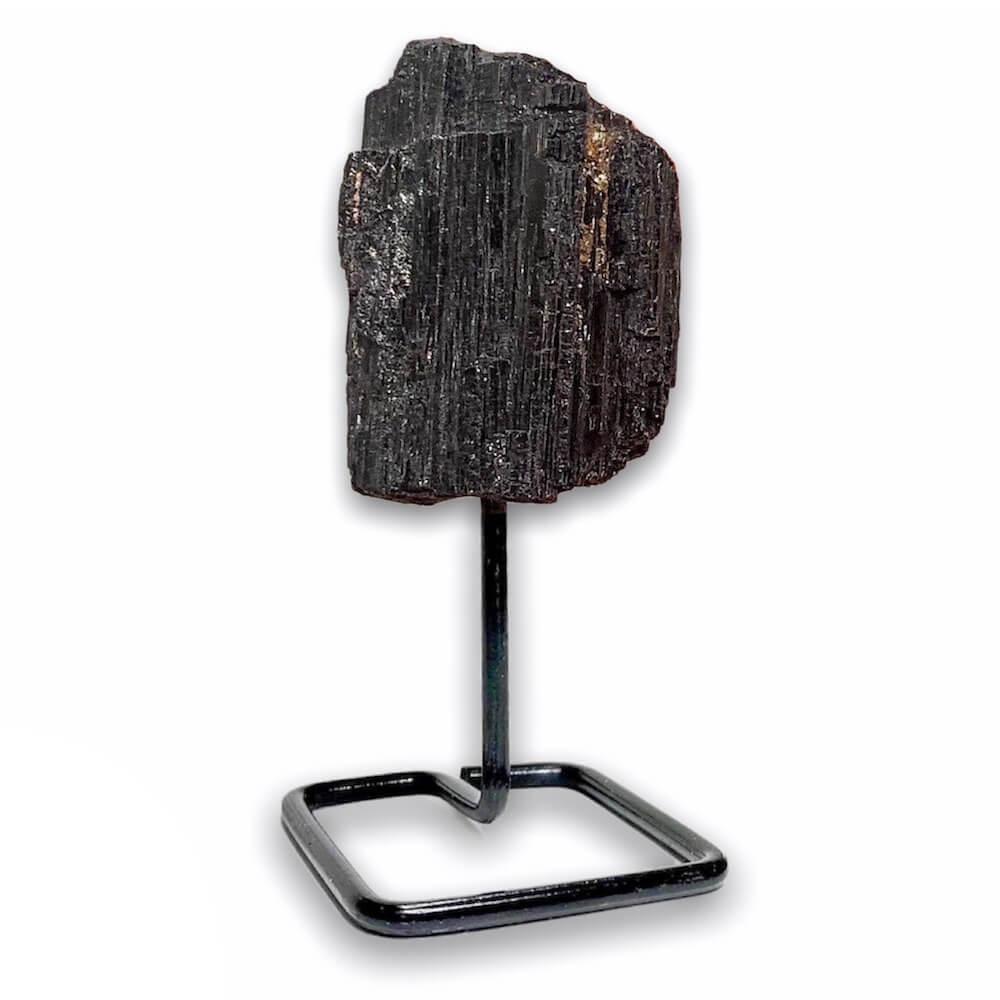 Black Tourmaline Point on Stand. Looking for One Rough Black Tourmaline Metal Stand, Tourmaline Chunk on Stand, Point on Stand Pin, Tourmaline Protect Stone, Rough Tourmaline, Raw Black stones? Shop for our genuine gemstones. Black Tourmaline 12 gemstone point star. Assists you with PROTECTION, SHIELDING, and SECURITY.
