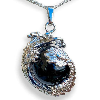Black Agate Dragon Pendant Necklace - Agate Jewelry - Magic Crystals