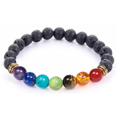 Black Lava Stone and 7 Chakra Stretch Bracelet - Magic Crystals