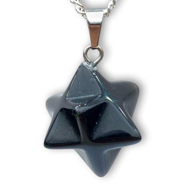Shop for Black Obsidian Stone Star of David pendant. Estrella de David Merkaba. Obsidian Stone Star Of David Shape Healing necklace Online. Merkaba Star handcrafted made of Obsidian Stone. Buy online Healing Stones.Estrella colgante de piedra obsidiana negra con collar esterlina plata forjada a mano por Magic Crystals.