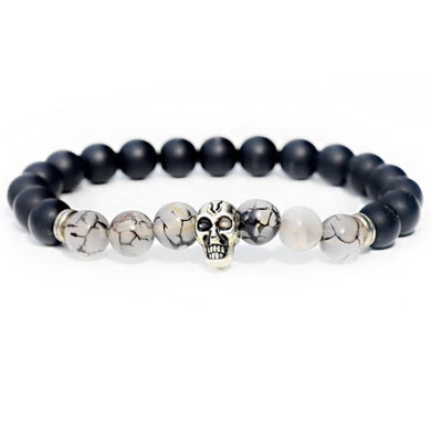 Black Onyx Stone & Black Tourmalinated quartz Gemstone Skull Bracelet - Magic Crystals - Skull Bracelet -Unisex Black onyx bracelet