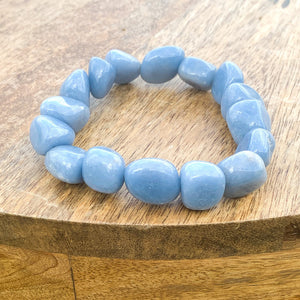 Shop for Blue Angelite Tumbled Gemstone Bracelet at Magic Crystals. We carry 6-8 mm Angelite, Stretch Bracelet, Tumbled Stone Bracelet for gift or you. Jewelry Bracelets, and Beaded Bracelets. Tumbled Stone Bracelet, Angelite Jewelry. FREE SHIPPING available.