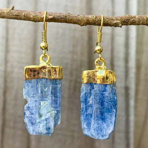 Raw Blue Kyanite Crystal Earrings - Raw Crystal Drop Dangle Earrings - Crystal Stone Earrings - Wife Gift For Her - Blue Kyanite Jewelry. Shop for handmade kyanite Jewelry at Magic Crystals. FREE SHIPPING available. Christmas gift, birthday present.