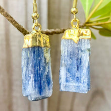 Load image into Gallery viewer, Raw Blue Kyanite Crystal Earrings - Raw Crystal Drop Dangle Earrings - Crystal Stone Earrings - Wife Gift For Her - Blue Kyanite Jewelry. Shop for handmade kyanite Jewelry at Magic Crystals. FREE SHIPPING available. Christmas gift, birthday present.