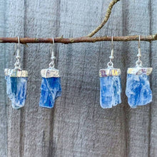 Load image into Gallery viewer, Raw Blue Kyanite Crystal Earrings - Silver Raw Crystal Drop Dangle Earrings - Crystal Stone Earrings - Wife Gift For Her - Blue Kyanite Jewelry. Shop for handmade kyanite Jewelry at Magic Crystals. FREE SHIPPING available. Christmas gift, birthday present.