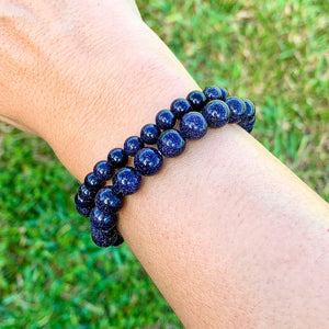 Looking for BLUE GOLDSTONE Bead Stretchy String Bracelet? Shop at Magic Crystals for BLUE GOLDSTONE Jewelry. BLUE GOLDSTONE Stone Bracelets are good for  PROTECTION, MONEY andPOWER. Blue Goldstone is highly regarded in the spirit realm as a protection mineral.