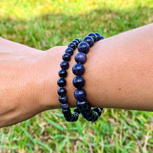 Load image into Gallery viewer, Looking for BLUE GOLDSTONE Bead Stretchy String Bracelet? Shop at Magic Crystals for BLUE GOLDSTONE Jewelry. BLUE GOLDSTONE Stone Bracelets are good for  PROTECTION, MONEY andPOWER. Blue Goldstone is highly regarded in the spirit realm as a protection mineral.