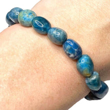 Load image into Gallery viewer, Check out Magic Crystals for the very best in unique, handmade Blue Apatite Bracelet tumbled Stone elastic bracelet. Buy genuine apatite gemstone bracelet with FREE SHIPPING available. Apatite meaning: MOTIVATION • MANIFESTATION • COMMUNICATION. Healing Crystal apatite Jewelry,Natural stones bracelets. Gemini stone.