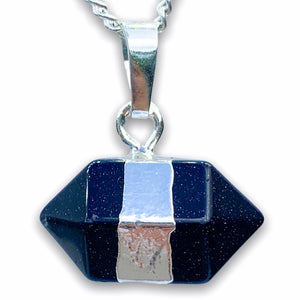 Blue Goldstone Stone Pendant Handmade Crystal Necklace, Magic Crystals  - Stone Necklace