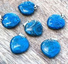 Load image into Gallery viewer, Check out our Blue Jasper Stone Necklace and Pendant selection for the very best in unique or custom, handmade Blue jasper pieces. Get the best deals on Natural Jasper Stone and Gemstone Heart shape Necklaces with Free Shipping Available on Magic Crystals Pendientes en forma de corazon. Jaspe azul