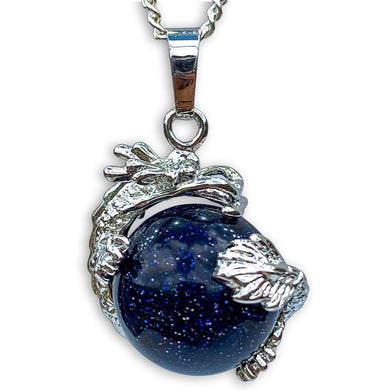 Blue Sandstone Sphere Dragon Pendant Necklace - Dragon Necklace - Magic Crystals