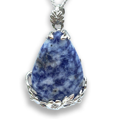 Blue Spot Jasper Stone Handmade Tear Drop Flower Necklace - Magic Crystals