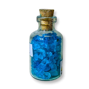 blue Topaz pieces in bottles, blue Topaz small glass bottle. Gemstone Crystal Bottle - Stone Bottle Set - Gemstone Chips - Tarot Gemstone Bottle, Crystal Gemstone Bottle - gemstone crystal chips. The listing is for one Crystal Bottle. Crystals included Peridot, Blue Topaz, Carnelian, Turquoise, Moonstone, Rose Quartz, Tigers Eye, Quartz, Amethyst, Aventurine, Garnet, Citrine.
