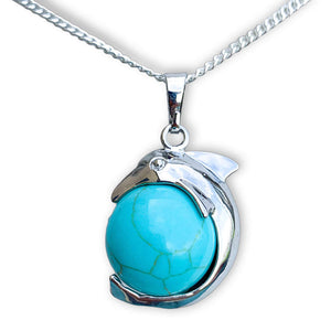 Blue Turquoise Sphere Dolphin Pendant Necklace - Dolphin Necklace - Magic Crystals