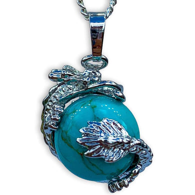Blue Turquoise Sphere Dragon Pendant Necklace - Dragon Necklace - Magic Crystals