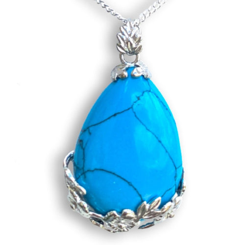 Blue Turquoise Stone Handmade Tear Drop Flower Necklace - Magic Crystals