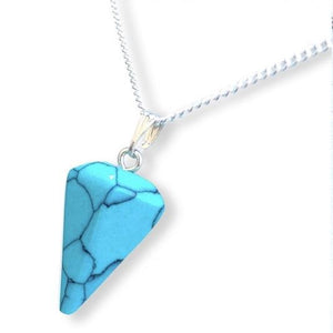Blue Turquoise Stone Quartz Single Point Necklace - Magic Crystals