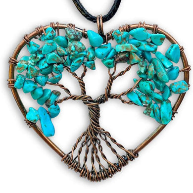 Copper Heart Pendant Turquoise Necklace - Magic Crystals - Copper Necklace