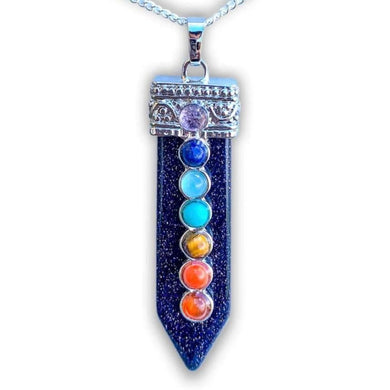 7 Chakras Single Point Blue Goldstone Necklace - Magic crystals
