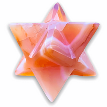 Load image into Gallery viewer, Merkaba Healing Crystals are known for activation of the Light Body merged with the Physical Body in Awakening deep Spiritual Transformation. Shop for Carnelian Stone Crystal Merkaba, Sacred Geometry Star at Magic Crystals. Magiccrystals.com has Merkaba Necklace, gemstone Merkabahs, and Sacred Geometry sets
