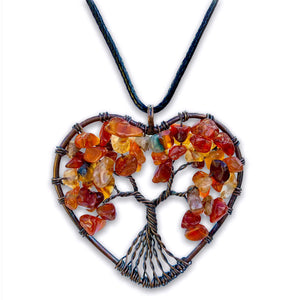 Buy Raw Carnelian Crystal Healing Pendant Necklace in the shape of Heart Tree Of Life in Magic Crystals. Carnelian is best for Motivation, Strength, and Leadership. Our pendants are handmade copper necklace, with natural stones. We carry a variety of beautiful healing carnelian crystal jewelry to choose from.