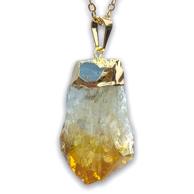 Citrine Stone Single Point Pendant Crystal Necklace - Magic Crystals - Stone Necklace