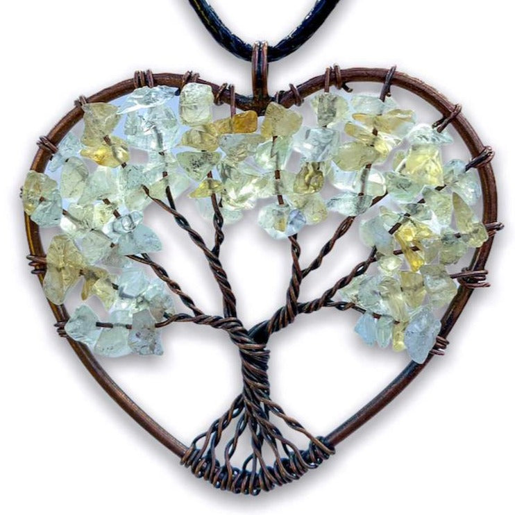 Copper Heart Citrine Pendant - Magic Crystals - Handmade Tree of life - Copper Necklace