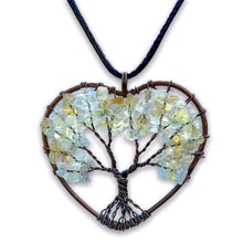 Load image into Gallery viewer, Copper Heart Citrine Pendant - Magic Crystals - Handmade Tree of life - Copper Necklace