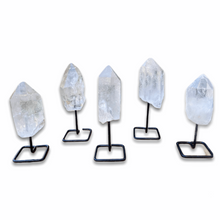 Load image into Gallery viewer, Shop from MagicCrystals.Com One Rough Clear Quartz Metal Stand, Clear Quartz Chunk on Stand, Point on Stand Pin, Clear Quartz Protect Stone, Rough Clear Quartz, Raw Clear Quartz! We carry a wide variety of clear quartz gemstones and quartz specimens. FREE SHIPPING AVAILABLE.