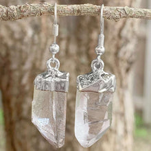 Load image into Gallery viewer, Looking for clear quartz jewelry? Well look no further! Shop at Magic Crystals for the best clear quartz quality available. We carry a wide variety of clear Clear Quartz Earrings, Raw Jewelry, Dangle Earrings with FREE SHIPPING available. Check out magiccrystals.com - Silver Jewelry - magiccrystals.com