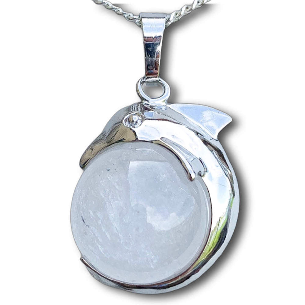 Clear Quartz Sphere Dolphin Pendant Necklace - Dolphin Necklace - Magic Crystals
