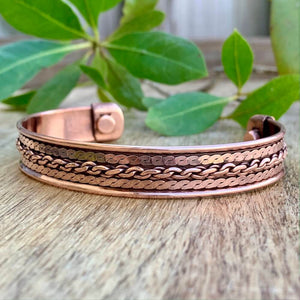 Copper Bracelet Magnetic, Chain Design cuff wristband - Magic Crystals - Copper Bracelet