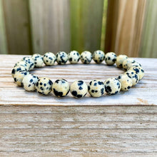 Load image into Gallery viewer, Looking for Dalmatian Jasper Bead Stretchy String Bracelet? Shop at Magic Crystals for Dalmatian Jasper Jewelry. Dalmatian Jasper is a stone that aids you to break down barriers that you have created as protection around yourself. Natural Gemstone bracelets with Free Shipping available.