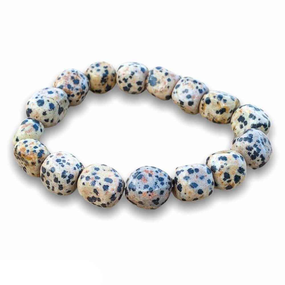 Shop for Dalmatian Jasper Tumbled Stone Bracelet, Dalmatian Jasper Jewelry at Magic Crystals. Jewelry, Bracelets, and Beaded Bracelet with FREE SHIPPING available. Dalmatian Jasper is good for STRENGTH, TRANQUILITY and LOYALTY. Dalmatian Jasper Tumbled Gemstone Bracelet. (Dalmatian Jasper, Stretch Bracelet,
