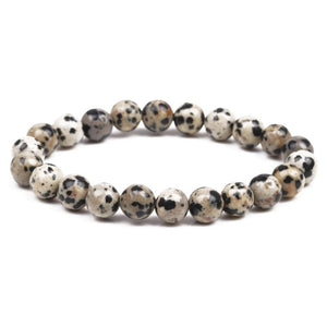 Looking for Dalmatian Jasper Bead Stretchy String Bracelet? Shop at Magic Crystals for Dalmatian Jasper Jewelry. Dalmatian Jasper is a stone that aids you to break down barriers that you have created as protection around yourself. Natural Gemstone bracelets with Free Shipping available.