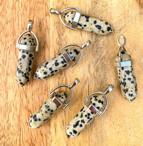 Looking for a Unique Dalmatian Jasper Necklace? Shop for unique Dalmatian Jasper Stone Double Point Handmade Necklace when you shop at Magic Crystals. Natural Dalmatian Jasper Crystal Healing Pendant Necklace. Dalmatian Jasper properties a stone that aids you to break down barriers. FREE SHIPPING available.