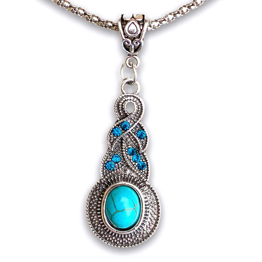 Women's Turquoise Statement Necklace - Water Drop Necklace - Magic Crystals - stone necklace