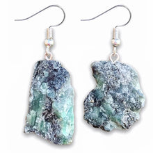 Load image into Gallery viewer, Buy raw emerald earrings, silver dangle earrings, emerald crystal earrings, Natural Emerald stone, healing crystals and stones at MagicCrystals.com . Magic Crystals carries a wide variety of Natural Emerald Gemstone for HEALING and PROSPERITY. Magiccrystals.com offers the best quality gemstones.
