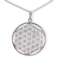 Load image into Gallery viewer, Silver Flower of Life Pendant Necklace Handmade - Magic Crystals - Necklaces