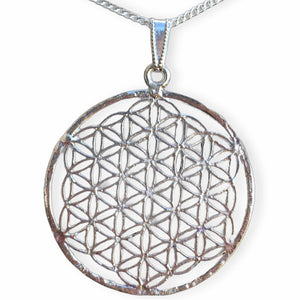 Silver Flower of Life Pendant Necklace Handmade - Magic Crystals - Necklaces