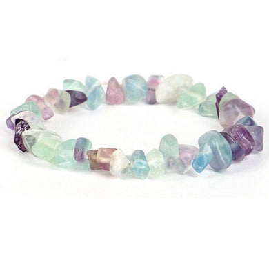 Fluorite Stone Elastic Raw Bracelet -Fluorite Jewelry - Magic Crystals