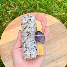Load image into Gallery viewer, Looking for, where can I buy White Sage, Palo Santo sticks, and Fluorite? Shop at Magic Crystals for Fluorite Smudge Bundle - Palo Santo, Sage - Fluorite - Space Clearing - Home Cleansing Kit - Neutralizes Negative Energy & Stress Smudge Bundle - Meditation. Smudging for Cleansing and Clearing Your Home, Clearing Nega…