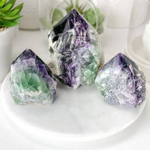 Load image into Gallery viewer, Looking for Fluorite crystal points? Shop at Magic Crystals for Fluorite Polished Point, Fluorite Stone, Purple Fluorite Point, Stone Point, Crystal Point, Fluorite Tower, Power Point at Magic Crystals. Natural Fluorite Gemstone for INTUITION, PROTECTION, INTELLECT. Magiccrystals.com offers the best quality gemstones.