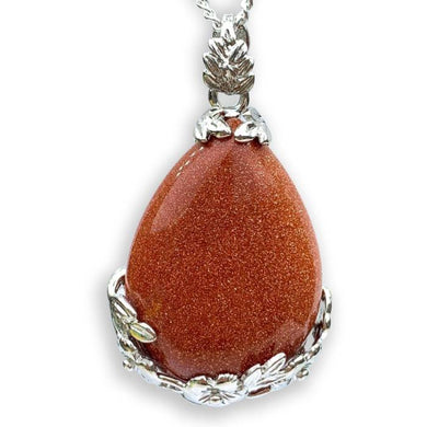 Goldstone Stone Handmade Tear Drop Flower Necklace-Flower Pendants-Magic Crystals