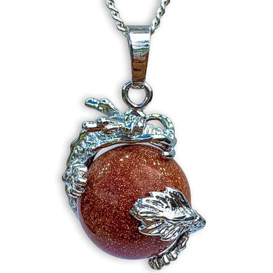 GoldStone Sphere Dragon Pendant Necklace - Dragon Necklace - Magic Crystals