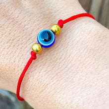 Load image into Gallery viewer, Golden Evil Eye Red String Protection Bracelet