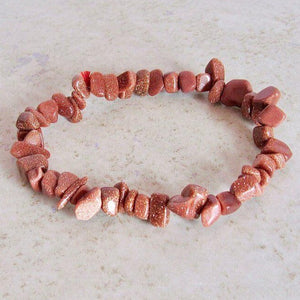 GoldStone Stone Elastic Raw Bracelet, GoldStone Jewelry,Magic Crystals